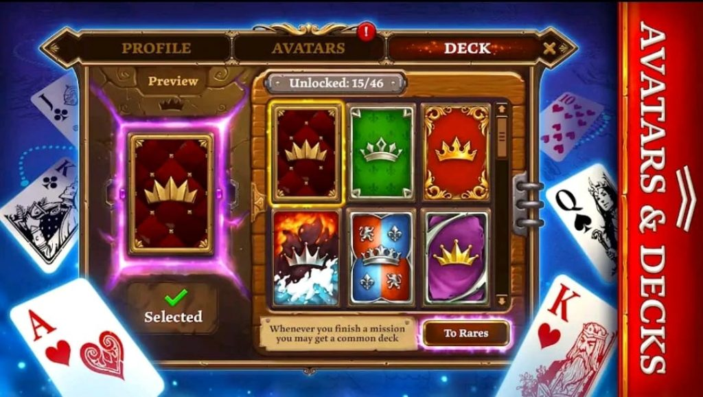 Les avatars et les decks sur Scatter Holdem Poker