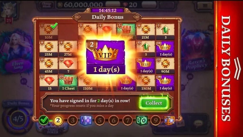 Les daily bonus sur Scatter Holdem Poker