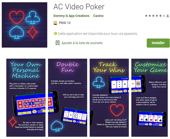 AC Video Poker : Le seul replayer et appli de poker combiné