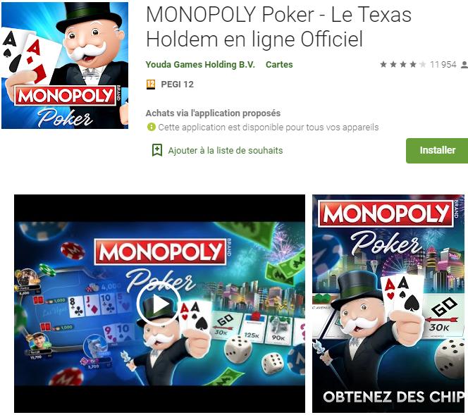 MONOPOLY-Poker : l'application mobile de poker et Monopoly